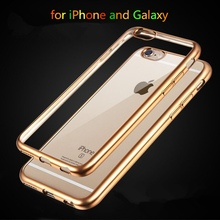 Top Quality Electroplated Soft Clear Cases For Apple iphone 6 6S 4.7″ / 6 6s Plus 5.5″ 5 5s Mobile Phone Back Bags Cover Cases