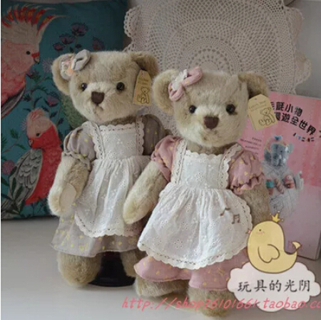 35 cm 2pcs/set baby sister teddy bear with Active joint Lace dress plush stuffed bear toy chrismas gift(China (Mainland))