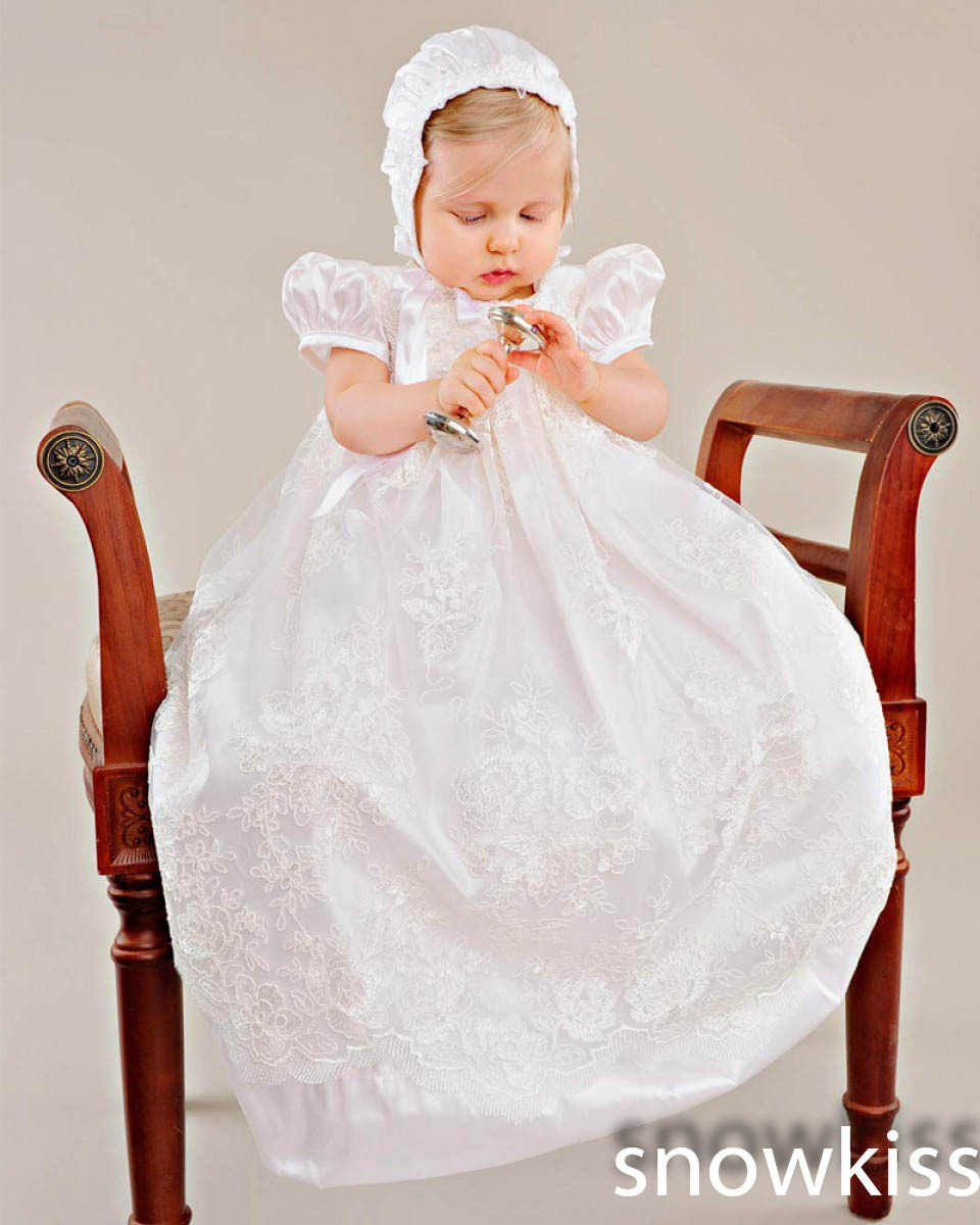 2015 White/Ivory First Communion Dresses Blessing Heirloom Christening Gown with Bonnet Sequins Beads Baby Girls Baptism Robe<br><br>Aliexpress
