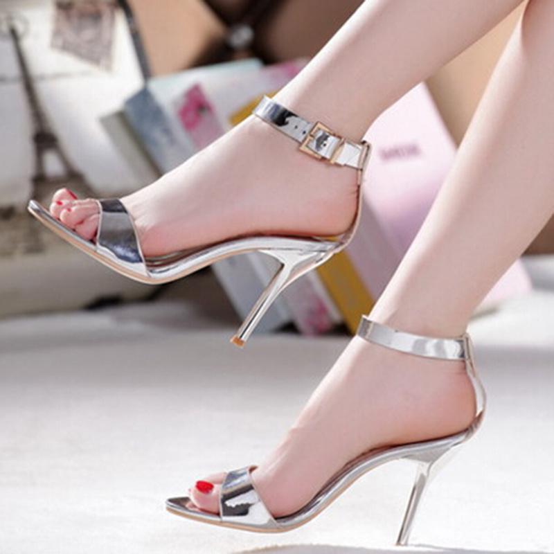 Sandals Peep Stiletto Open Toe High Heels Ankle Strap Belt Buckle Genuine Leather Silver Sheepskin Women Dress Shoes Pumps 2016<br><br>Aliexpress