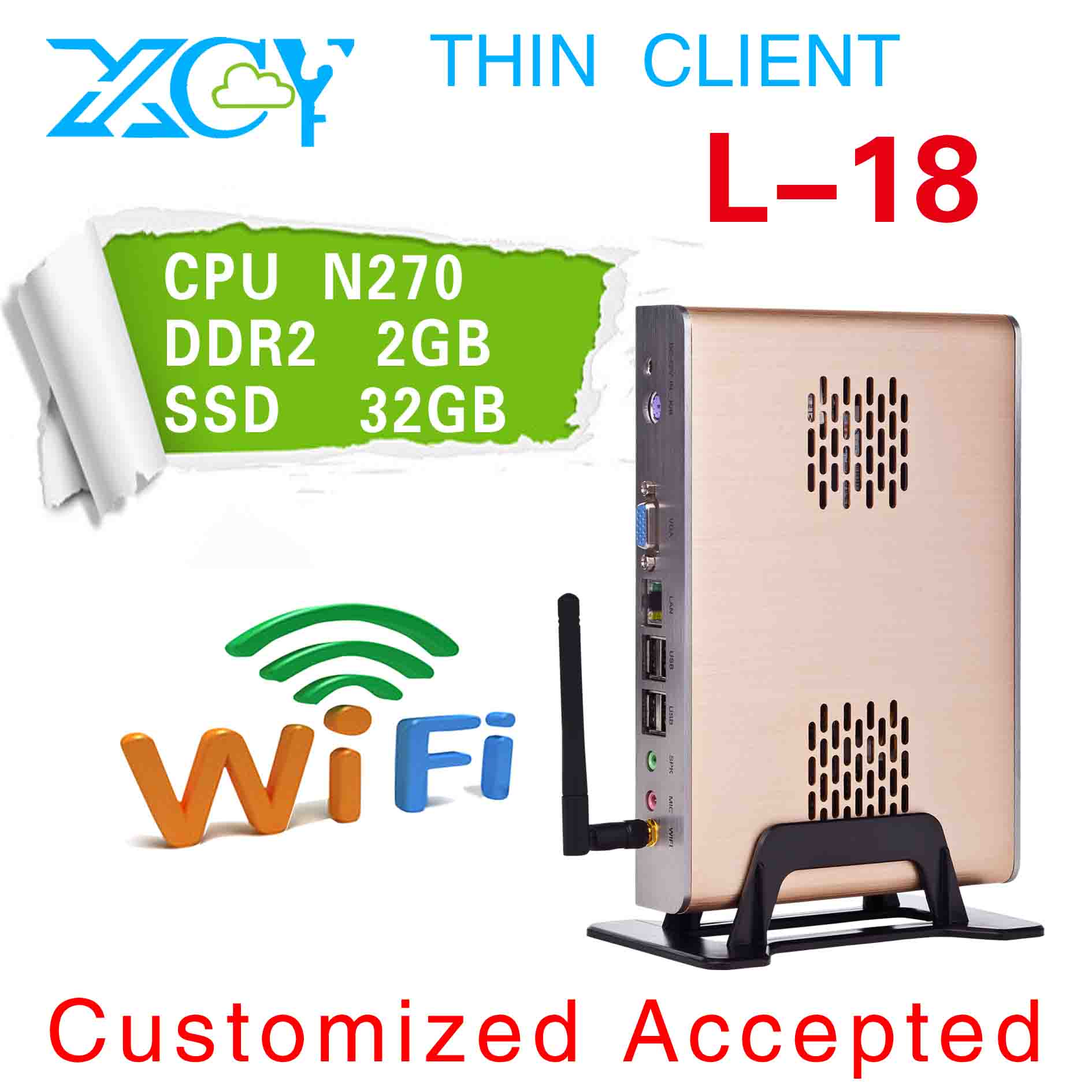 Easy to carry! Ultra Thin Client, Intel atom N270 1.6 GHZ, XCY L-18 Laptop computers(China (Mainland))