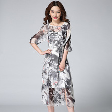 2015 Dandelion Printed Silk Loose Drawstring Waist Midi Dress Side Slit Twinset Mid Sleeve Casual Dresses