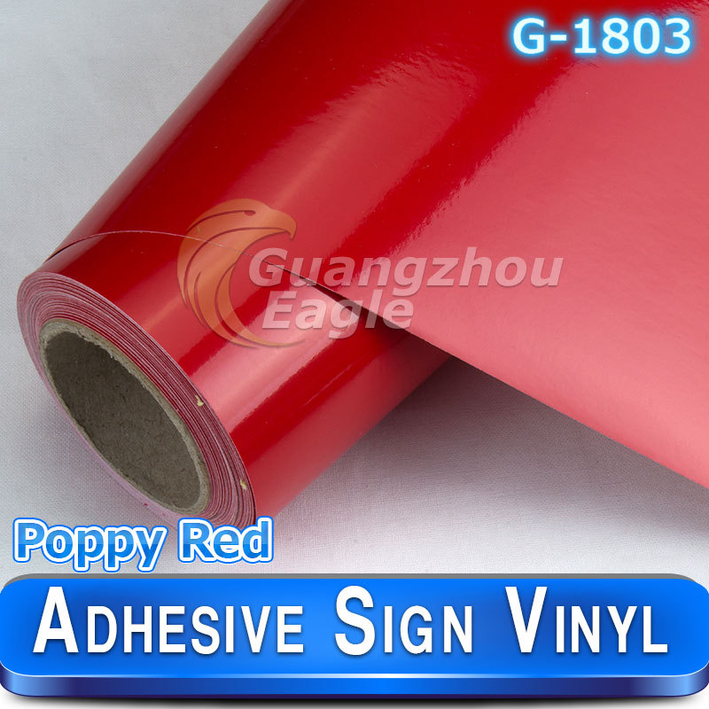 Glossy Poppy Red sign vinyl cutter printer vinyl sheets custom decals 1.52*30m/roll(China (Mainland))