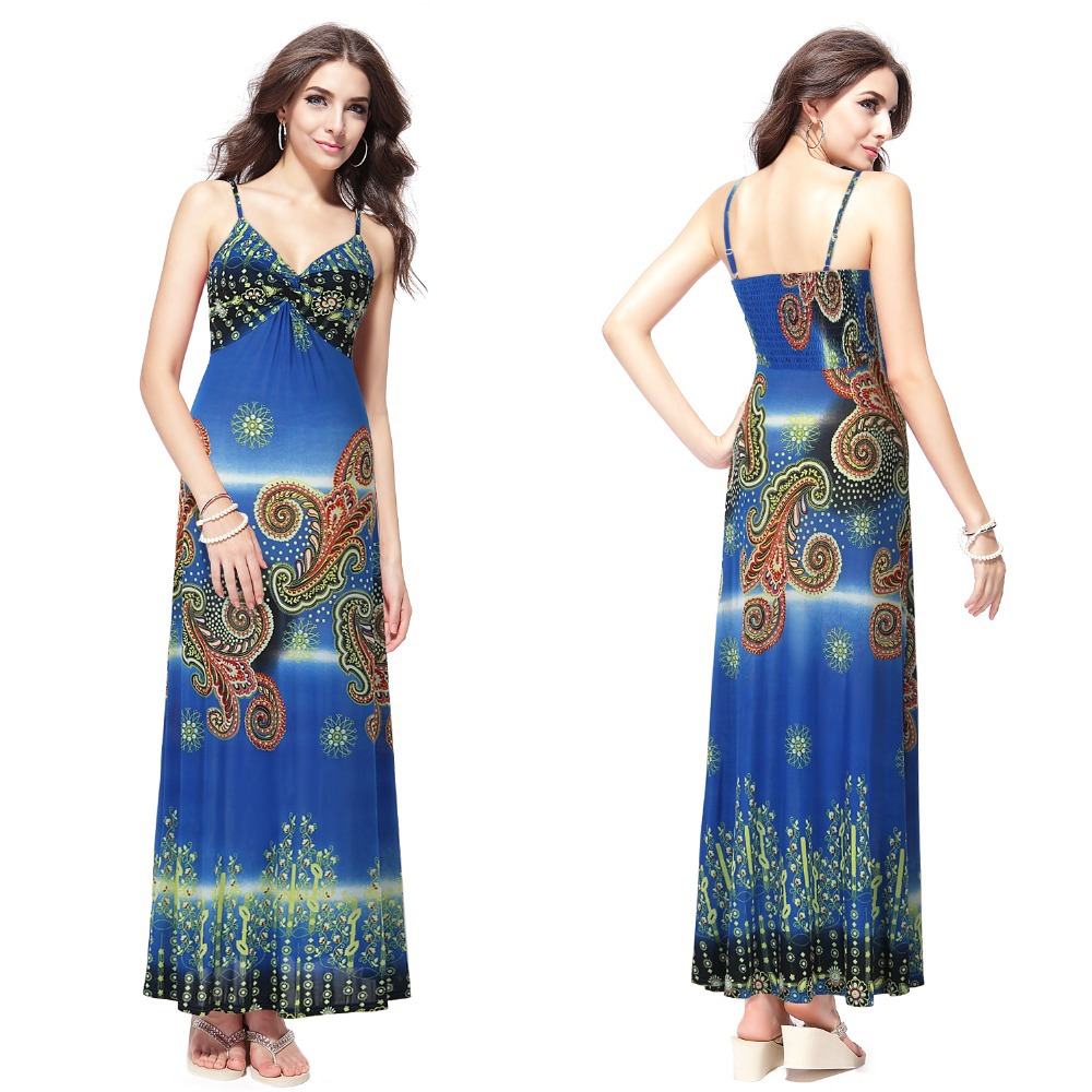 HE09502 Sexy Ladies Printed Summer Long Maxi Evening Dresses(China (Mainland))