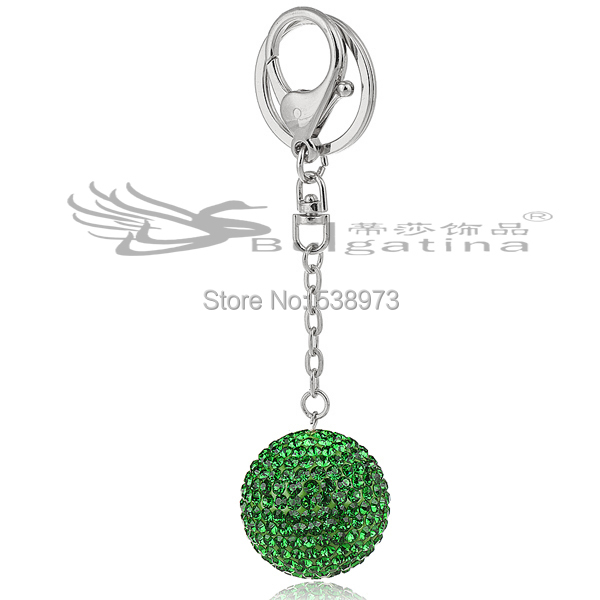 2015 New Arrival Lovers Gift Keychain Couple Green Ball Key Chain Women Wallet/Bag Accessories Free Shipping KY6019-2(China (Mainland))