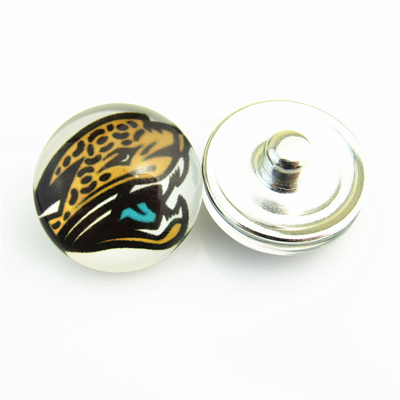 20pcs/lot Popular Sports NFL Jacksonville Jaguars Football Team Logo Glass Snap Button fit 18mm Ginger Snap Bracelet Jewelry(China (Mainland))