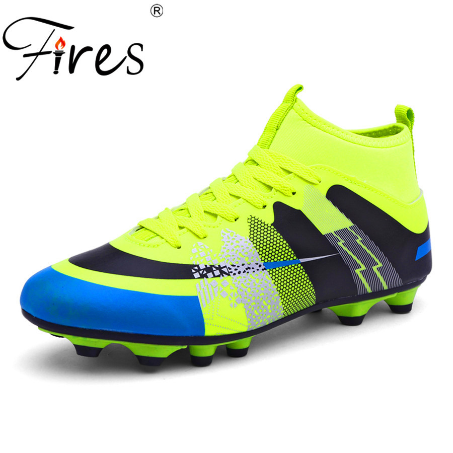 Fires Long Spikes Soccer Shoes/Boots For Men Outdoor Sports Football Shoes/Boot 2017 Men High Ankle Original Football Shoes(China (Mainland))