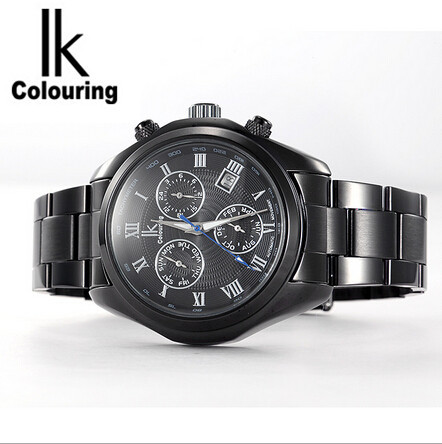 IK path of gemany fully automatic mechanical watches Six stitches multi-function mens watch 98180 g black shell black belt<br><br>Aliexpress