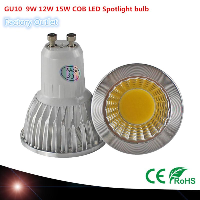 COB chip GU10 LED lamp 9W 12W 15W 85~265V Warm / Cold white DIMMABLE LED bulb Spotlight 120 Beam Angle(China (Mainland))