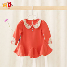 AD Floral Lace Collar Baby Girls Dress Pleated Bottom Baby Dress Spring Toddler Baby Clothing vestidos infantil roupas meninas(China (Mainland))