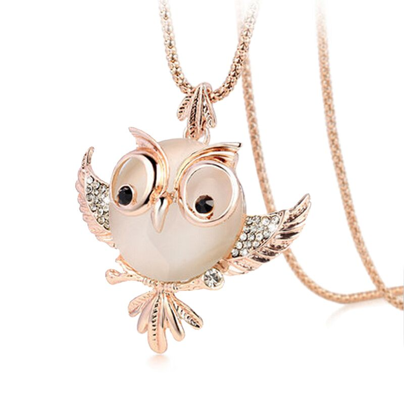 2016 Hot Chubby Owl chokers Rhinestone Necklace Fashion Crystal Jewelry Statement Women Long Chain Necklace Necklaces & Pendants(China (Mainland))