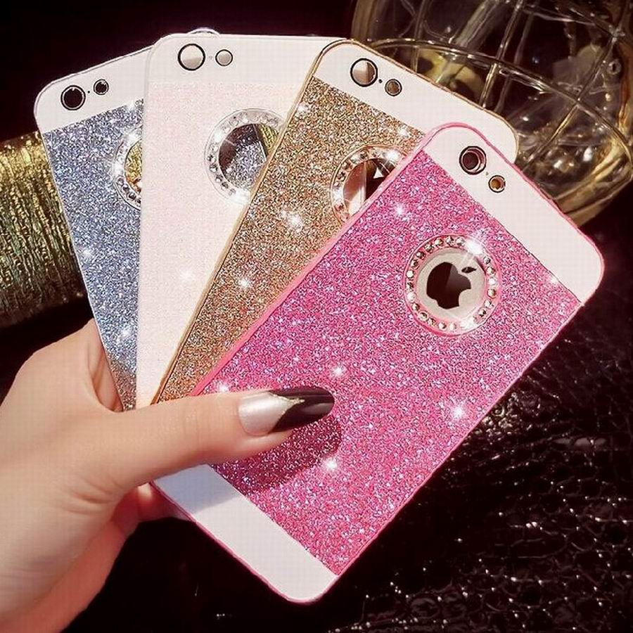 Women Female Luxury Glitter Powder Bling Phone Case With Crystal Logo Window Phone Back Cover For Iphone 5 5S YC1310(China (Mainland))