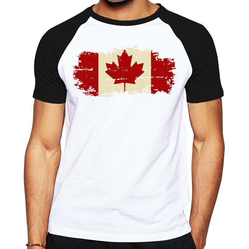 Maple leaf men t shirt canadian flag cotton short sleeve for Made in canada dress shirts