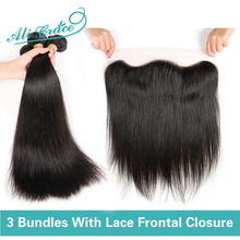 Lace Frontal Closure With Bundles 8A Brazilian Virgin Hair With Closure Straight Hair Ear To Ear 13x4 Lace Frontal With Bundles(China (Mainland))