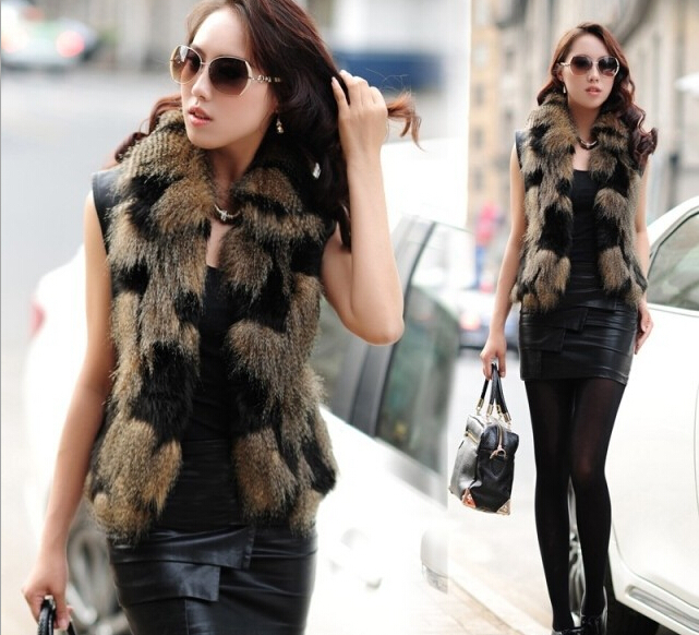 Latest Autumn Winter Fashion 2015 Korean Women Stitching Vest Rabbit Fur Leather Grass Fox Fur Waistcoat Vest Short Coat G0085(China (Mainland))
