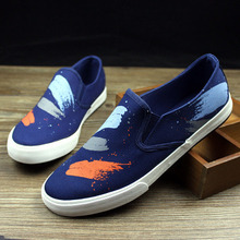 New arrival 2015 men flat sneakers graffiti print slip on canvas shoes driver mocassins breathable casual