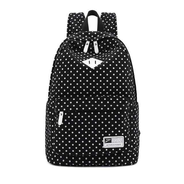 2016 горячий стиль классические точки женщины рюкзак школьные сумки 100% холст точки печать женский школьные сумки компьютерные сумки