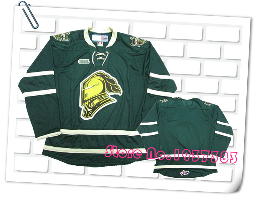 2016 New Design Style London Knights Black/Green Hockey Jerseys, Accept Custom Stitched Jerseys (Custom Any Name and Any Number)(China (Mainland))