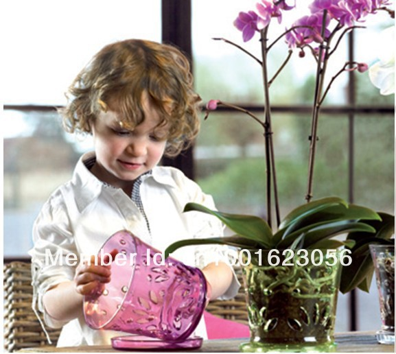 Orchid Pot/ Free Shipping Plastic Flower Pot/ Watch Flower Growth/ Spring Flowers' Best Choice(China (Mainland))