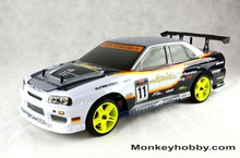 Hot Sale HSP 94123 2.4Ghz Radio Eletric RC Drift remote control RC car electric Flying Fish Road 1/10 Scale RC Car, Body : 12333(China (Mainland))