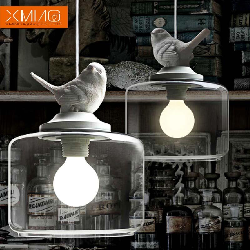 industrial vintage pendant light original bird designer glass lamp shade E27 pendant lamp holder loft bar lamps Edison bulb(China (Mainland))