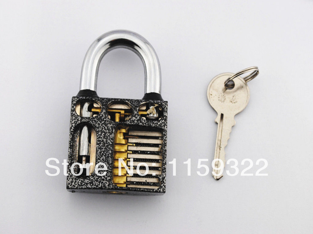 Locksmith Beginner Cutaway inside view open chambers of Practice Padlock Lock training Skill Pick Freeshipping New(China (Mainland))