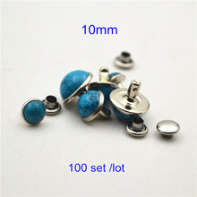 Discount Price - 100 set 10mm Domed Blue Acrylic Turquoise Rivet Studs,Silver Metal Cup and Back,DIY Leather Arts Punk Rivets(China (Mainland))