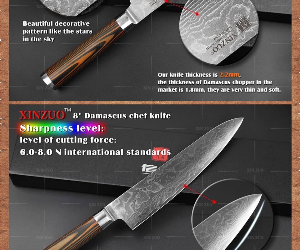 Buy 3 pcs kitchen knives set 73 layer Damascus kitchen knife Japanese VG10  chef utility knife wood handle free shipping cheap