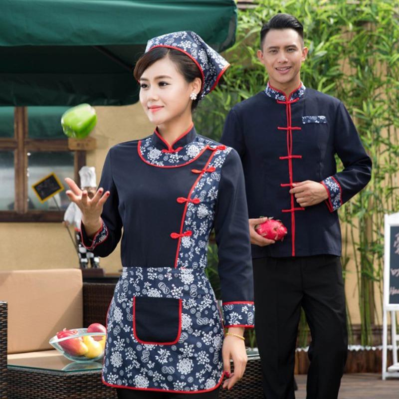 New Arrival Chinese Style Hotel Waiter Waitress Working Uniform Spring Workwear Long Sleeve Restaurant Working Clothing(China (Mainland))