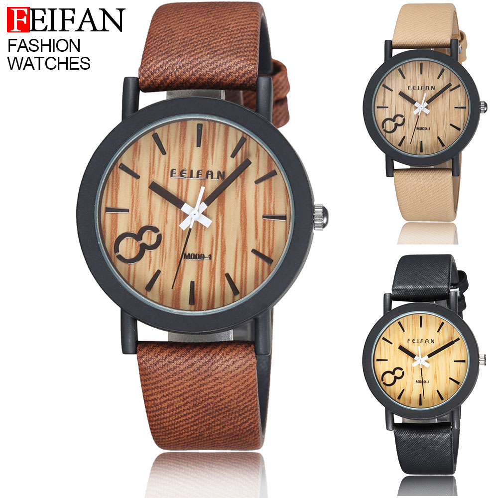 2016 Hot Sale Simulation Wooden Quartz Men Watches Casual Wooden Color Leather Strap Wood Male Wristwatch Relojes Reloj Hombre(China (Mainland))