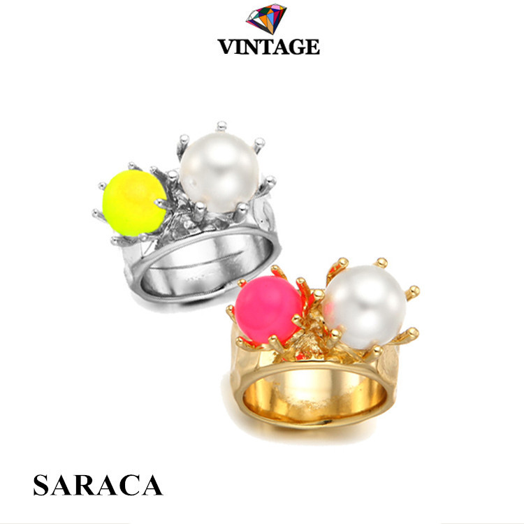 12 Pcs new 2014 Korean fashion brand neon pink yellow pearl beads gold silver punk knuckle midi finger rings best friends A679(China (Mainland))