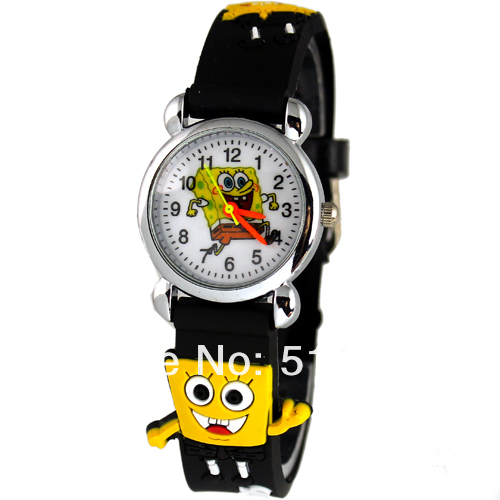 50Pcs Cute Cartoon spongebob Design Boys Girls Children Kids Watches Wrist Watch Free shipping