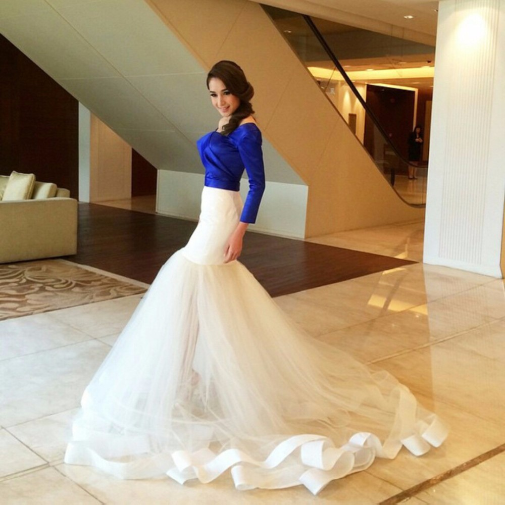 Mermaid-Royal-Bule-and-White-Skirt-Evening-Dress-One-Shoulder-Long-Sleeve-Formal-Woman-Evening-Party
