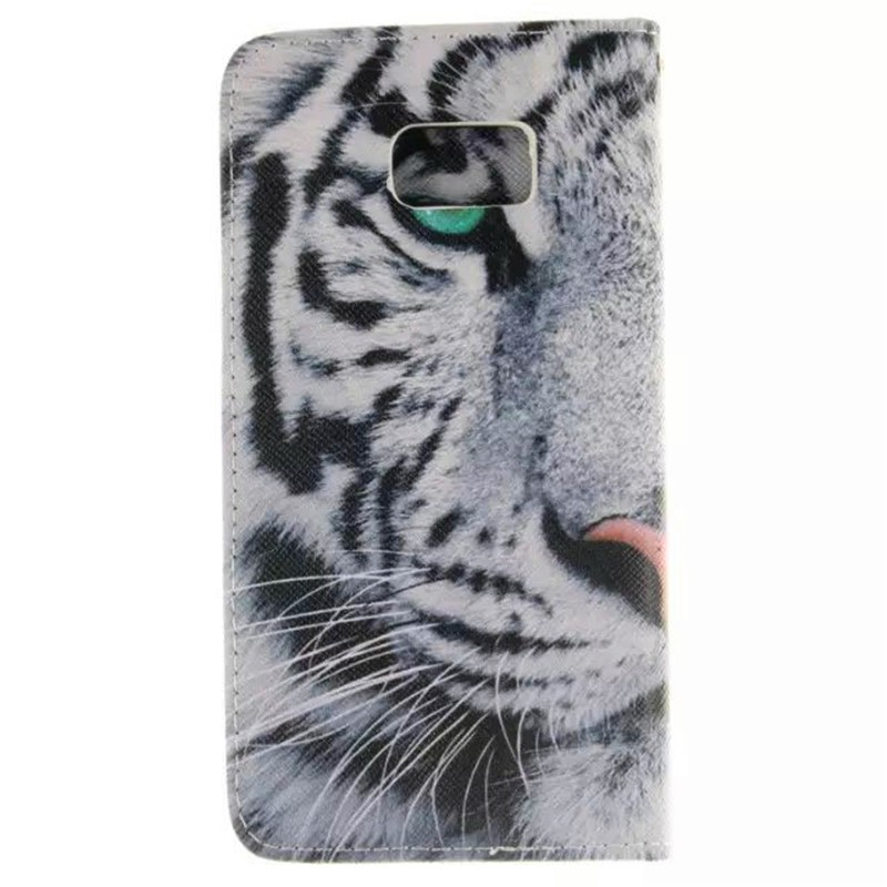 Fashion Leather Flip Phone Case for Samsung Galaxy S6 Edge Plus Sexy Girl Tiger Lion Owl Painted Wallet Cover with Card Holder