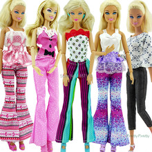 5x Random Hademade Fashion Lady Daily Wear Blouse & Trousers Outfit Casual Clother For Barbie Doll Gifts Baby Toys(China (Mainland))
