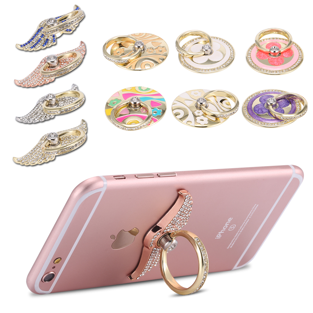Metal bling rhinestone finger rotated ring case cover for Ring case