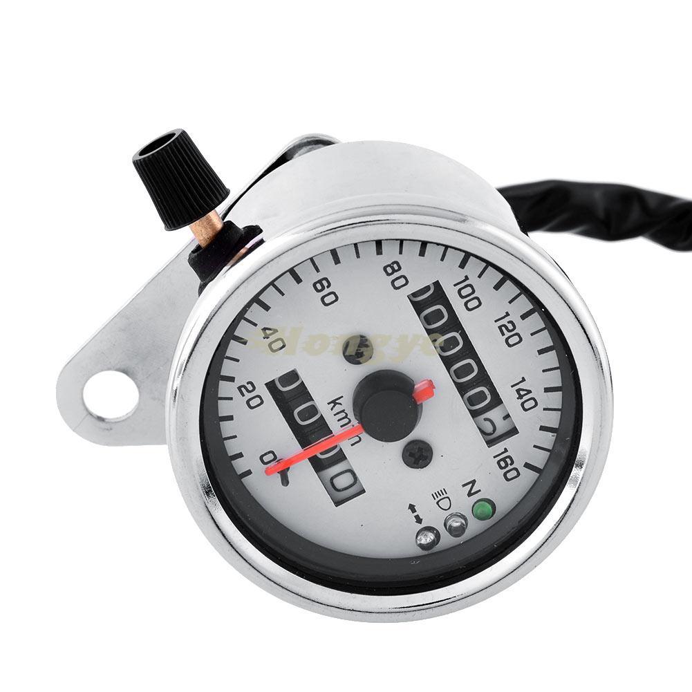 Motorcycle Motorbike Replace Chrome Dual Odometer Speedometer Gauge LED Backlight Background Signal Light 12V Repair White(China (Mainland))