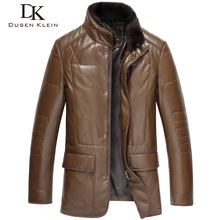 Feee shipping mink hair 's top sheepskin genuine leather clothing men's genuine leather coat medium-long down outerwear DK058