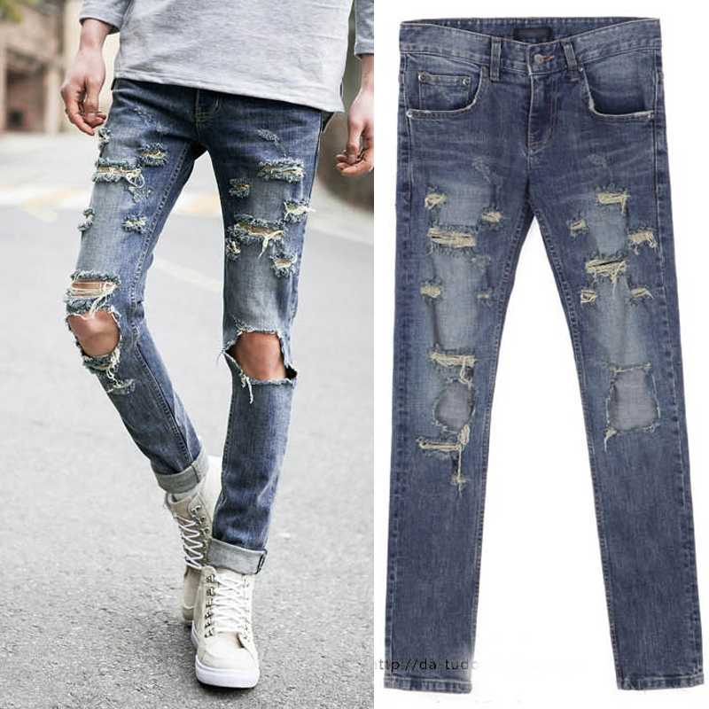 Those days Free shipping 2015 new men street all match brief unisex knee holes jeans punk unique ...