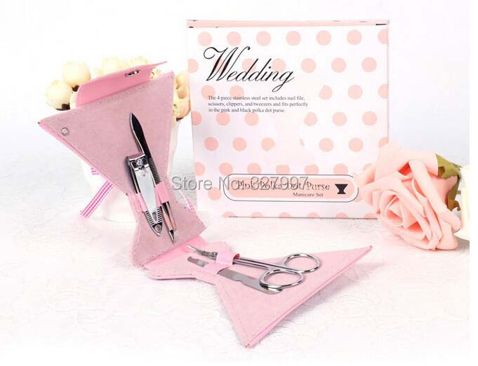 20Sets Pink cocktail glass nail care set scissors manicure utility clipper kit stainless personalized wedding favors and gifts(China (Mainland))