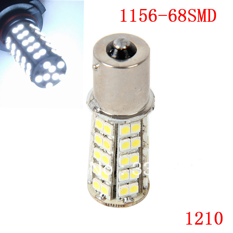 1 Piece 1156 68SMD 1210 White Micro Dome Index Car LED Lamp Bulbs Wedge White Light Headlight DC12V(China (Mainland))