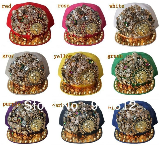 Free Shipping 2013 New Style, Lion head flat brimmed hat, Decorative buckle hip-hop cap, Rivets snapback hats
