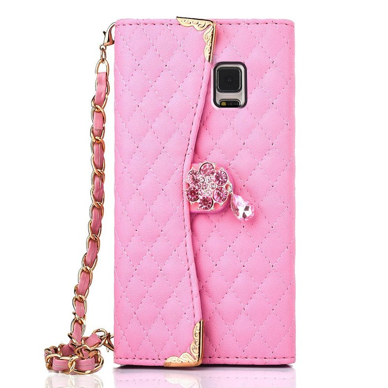 Luxury PU Leather Wallet Purse Handbag Flip Cover Case Samsung Galaxy Note 4 Phone Carry Strap Chain + Screen Film - DWay Technology Co.,Ltd store