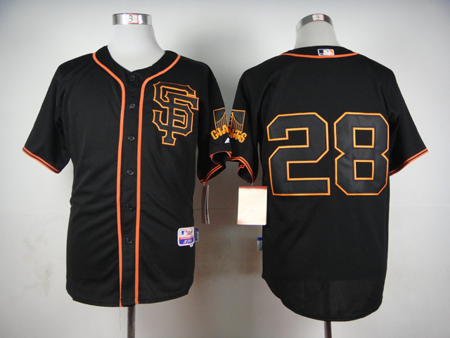 Authentic San Francisco Giants black jersey cheap stittched 28 Buster Posey Baseball Jerseys/shirt,Embroidery, top quality(China (Mainland))