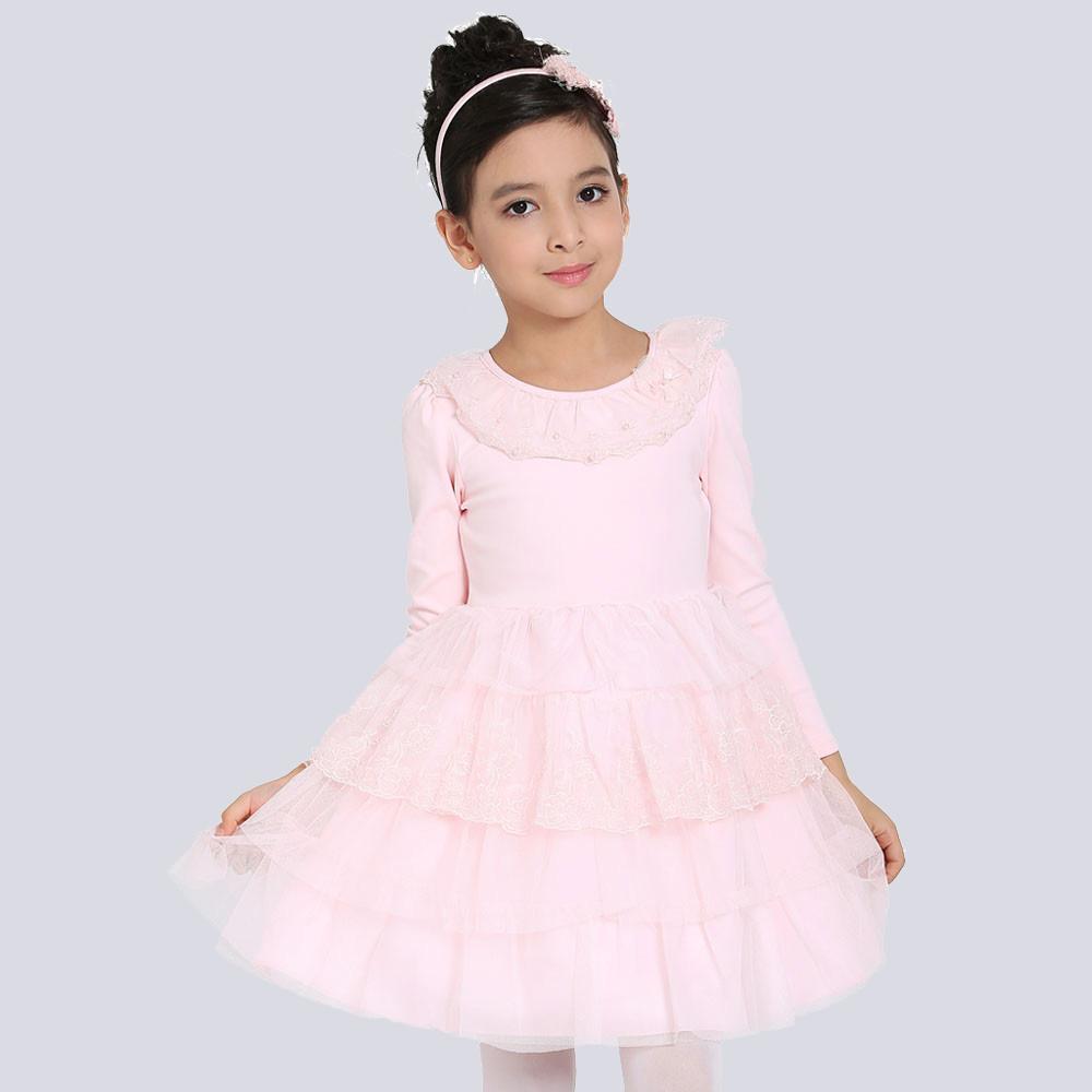 Long Sleeve Children Sweater Dress Pink Multi Layer Lace Girls Princess Autumn 2015 - Dongguan Jiahao Apparel & Fashion Co., Ltd store