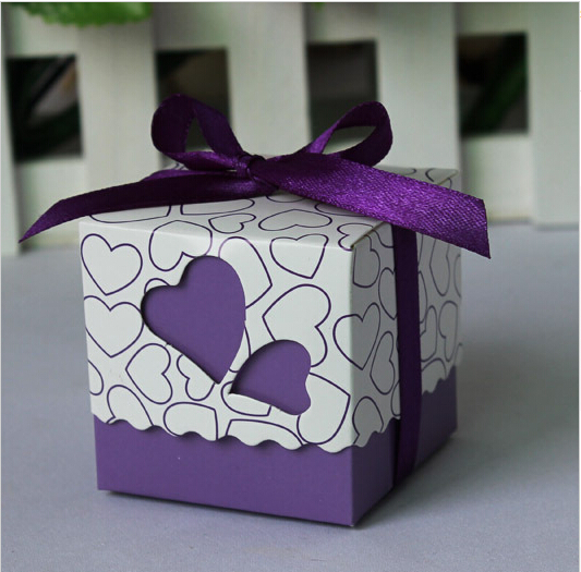 Purple 200Pcs/Lot Heart Wedding Favor Candy Boxes with Ribbon Baby Shower Paper FAVOUR Box Gifts Chocolate Box(China (Mainland))