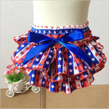New 4th of July Cute Baby Girl Pettiskirt Ruffle Panties Bloomer Diaper Cover for Baby Photography Props PN34(China (Mainland))
