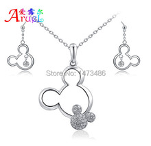 jewelry sets Gift Mickey Pendant Necklace Drop Earrings Austrian Crystal Fashion weeding necklaces Set For ensemble bijoux Women(China (Mainland))