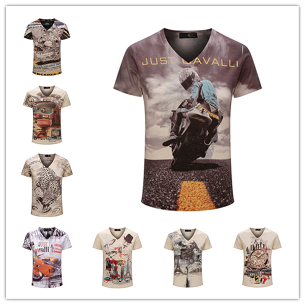 Top Quality New Summer Vintage Short Sleeve V Neck Printed 3D T Shirt Men Brand Cotton