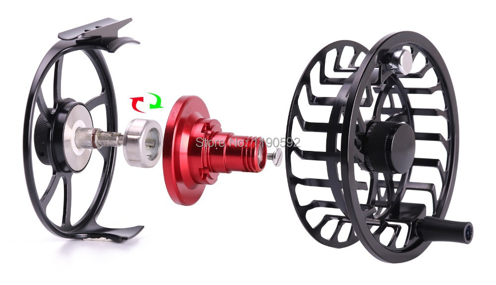 Free shipping HVC5 6 Skyhigh 9054 large arbor machine cut fly reel and IM12 carbon 9ft